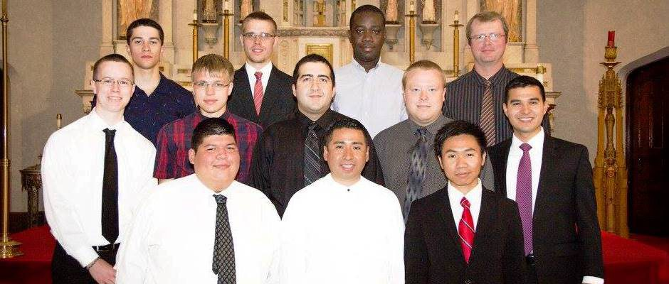 2016 Community at the Oblate's Fallon Pre-Novitiate in Buffalo, NY. Front row (L-R) Lazaro A. Leal, Jerry Gutierrez, Henry Zayamoe, Second row (L-R) Brian Bernhardt, Mateusz M. Garstecki, Amir Ayyobi, Zachary M. Hines, Mark A. Hernandez, Third row, (L-R) Thomas Machnicki, Derrick J. Huestis, Teko G. Teko-Agbo, Jonathan D. Kilgannon