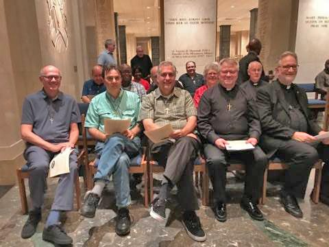 In the chapel: (L-R) Fr. Frank Santucci, Treasurer, Fr. Jim Chambers, Co-vicar, Fr. Art Flores, new Provincial, Fr. Louis Studer, outgoing Provincial, Fr. William Antone