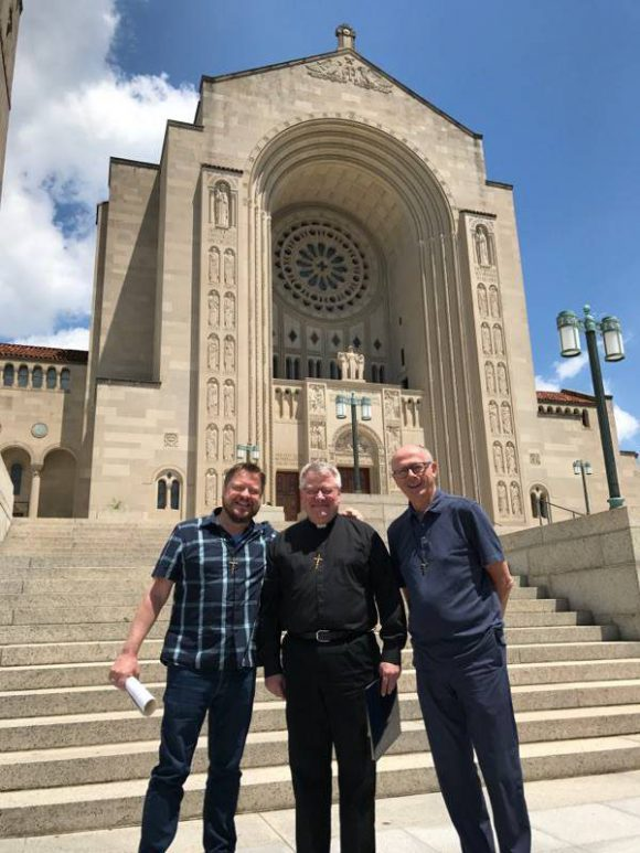 Outside the Basilica of the National Shrine: (L-R) Fr. Antonio Ponce, Fr. Louis Studer, Fr. Frank Santucci