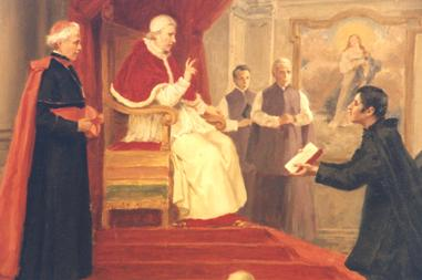 Photo: St. Eugene presenting a copy of the Oblate Constitutions and Rules to Pope Leo XII