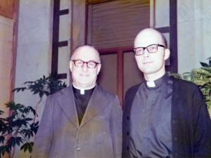 Cardinal Francis George, right, is shown in 1974 after his election as vicar general of the Missionary Oblates of Mary Immaculate. At left is the Rev. Fernand Jette, then superior general of the Oblates. (Archive of the Missionary Oblate / March 8, 2013)