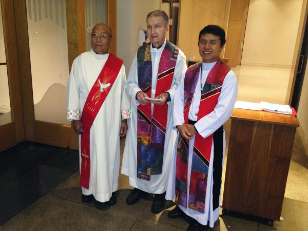 (L-R) Unidentified Deacon, Fr. Lucien Bouchard, OMI, Fr. Ongart Khaeser, OMI